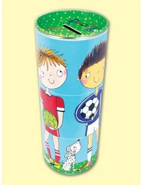 Image of 3-Tiered Swivel Money Tins Footballer